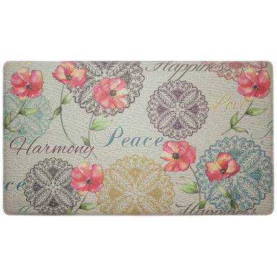 Chef Gear Poppies Words Anti-Fatigue Gelness Comfort Kitchen Mat