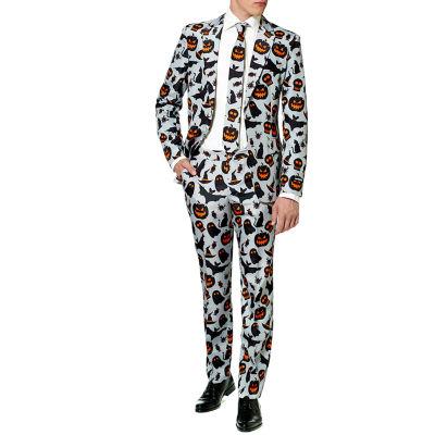 Suitmeister Men's Halloween Grey Icons - Slim Fit