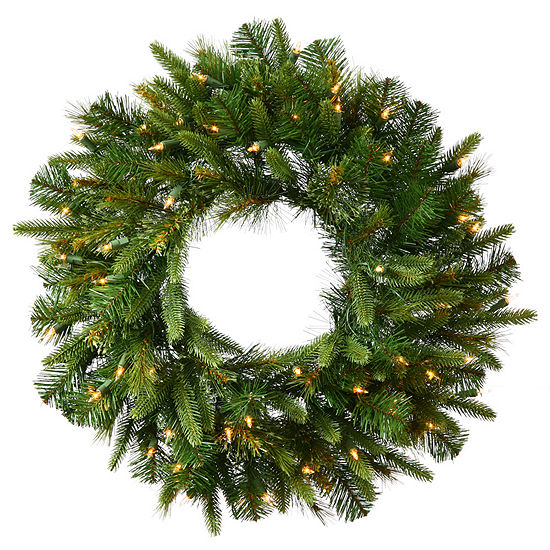 """Vickerman 48"""" Cashmere Christmas Wreath with 100 Warm White LED Lights"""