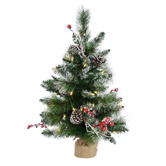 Vickerman 2' Snow Tipped Pine and Berry ArtificialChristmas Tree with Lights