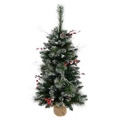 Vickerman 3' Snow Tipped Pine and Berry ArtificialChristmas Tree Unlit