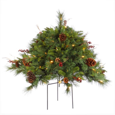 Vickerman 2' Cibola Mixed Berry Artificial Christmas Bush with 100 Warm White LED Lights