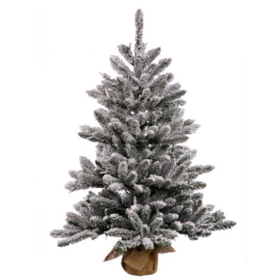 Vickerman Flocked Anoka Pine Artificial ChristmasTree with Warm White LED Lights