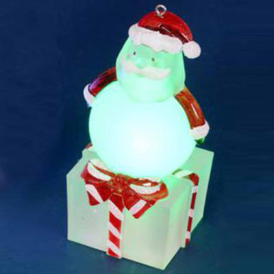 "4"" LED Lighted Color-Changing Santa on Present Table Top Christmas Decoration"""