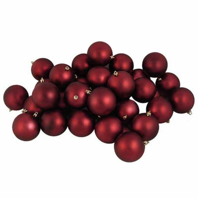 "12CT Matte Burgundy Red Shatterproof Christmas Ball Ornaments 4"" (100mm)"""