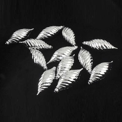 "12ct Silver Splendor Shatterproof Finial ChristmasOrnaments 4.75"""