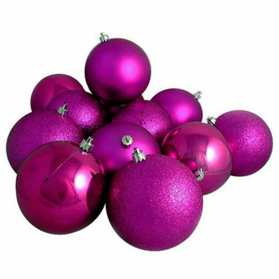"16ct Light Magenta Pink Shatterproof 4-Finish Christmas Ball Ornaments 3"" (75mm)"""