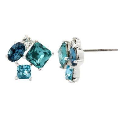 City Rocks City Rocks Princess Multi Color Brass Silver Over Brass Stud Earrings
