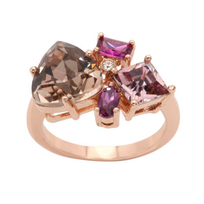 City Rocks Swarovski Womens Multi Color 14k Rose Gold Over Brass Cocktail Ring