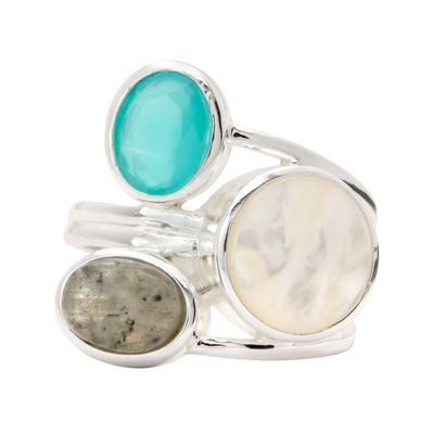City Rocks City Rocks Womens White Brass Cocktail Ring