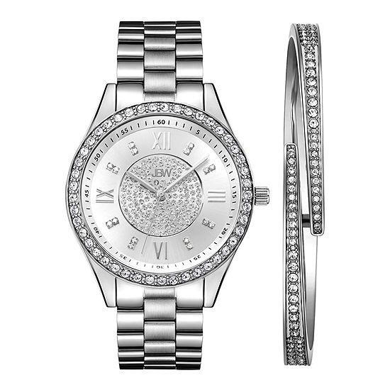 JBW Diamond Womens Silver Tone Stainless Steel Watch Boxed Set-J6303-Seta