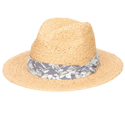San Diego Hat Company Straw Panama Fedora with Palm Leaf Band