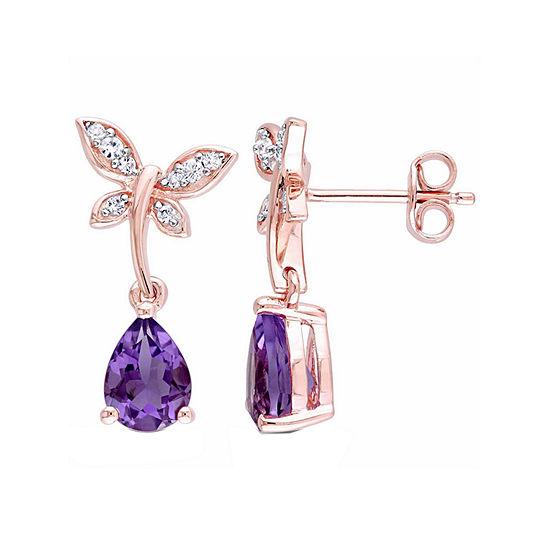 Laura Ashley Genuine Purple Amethyst 18K Gold Over Silver Butterfly Drop Earrings