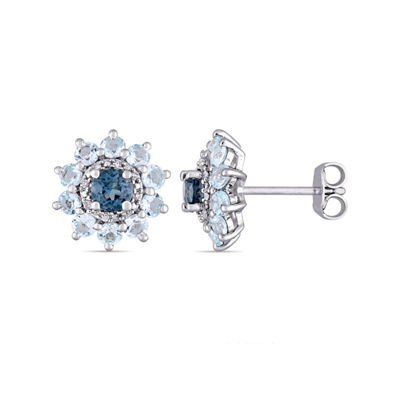 Laura Asley Genuine Blue Topaz Sterling Silver Flower Ear Pins