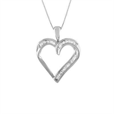 Womens 1/5 CT. T.W. Genuine White Diamond 10K White Gold Heart Pendant Necklace