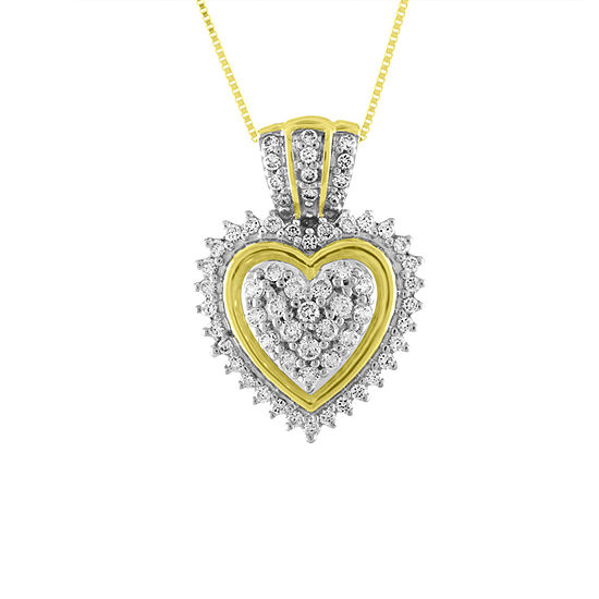 Womens 1 3 Ct Tw Genuine White Diamond 10k Gold Heart Pendant Necklace