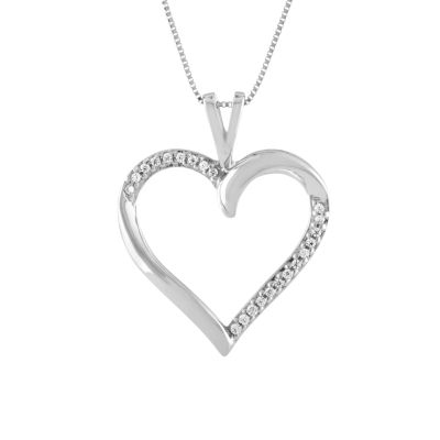 Womens Diamond Accent 10K White Gold Heart Pendant Necklace