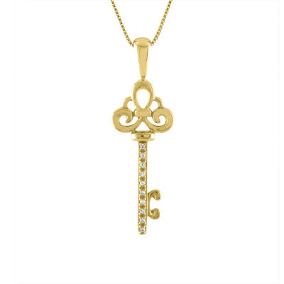 Womens Diamond Accent 10K Gold Key Pendant Necklace