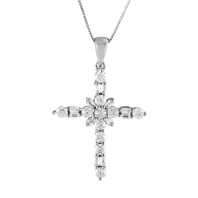 Womens 1/4 CT. T.W. Genuine White Diamond 10K White Gold Cross Pendant Necklace