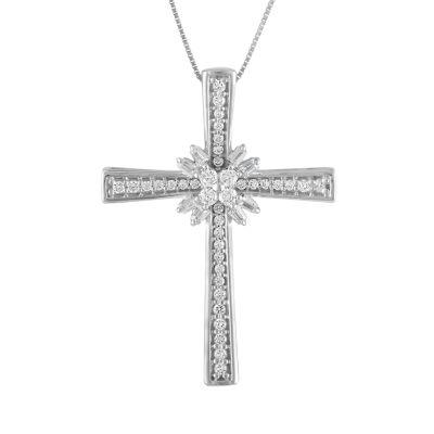 Womens 1/4 CT. T.W. Genuine White Diamond 10K White Gold Cross Pendant Necklace