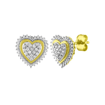 1/3 CT. T.W. Genuine White Diamond 10K Gold 11mm Heart Stud Earrings