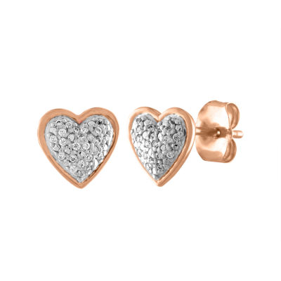 Diamond Accent 10K Rose Gold Heart Stud Earrings