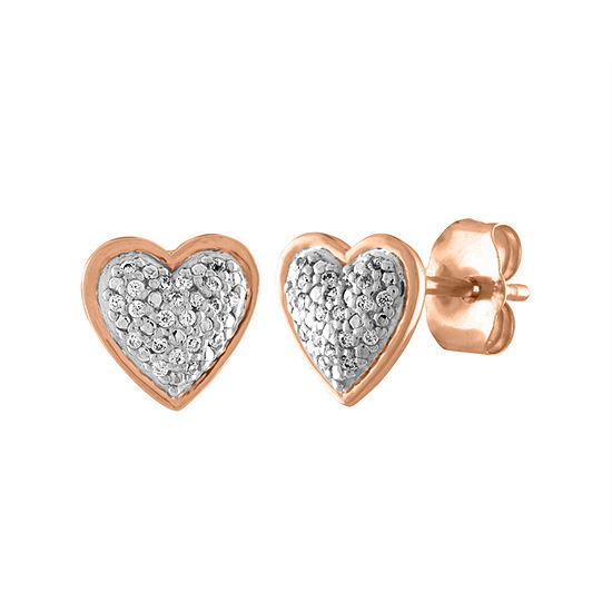 Diamond Accent 10K Rose Gold Heart Stud Earrings