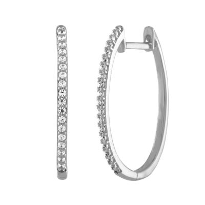 1/5 CT. T.W. Genuine White Diamond 10K White Gold 20.4mm Round Hoop Earrings