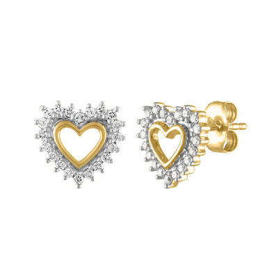 1/5 CT. T.W. Genuine White Diamond 10K Gold 9.3mm Heart Stud Earrings