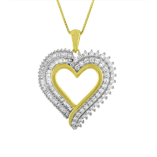 Womens 1 CT. T.W. White Genuine Diamond 14K Gold Over Silver Heart Pendant Necklace