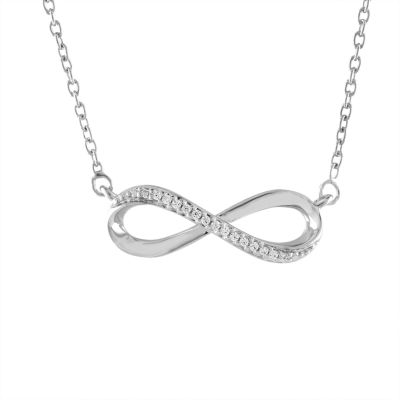"""""""Forever"""" Womens Diamond Accent Genuine White Diamond Sterling Silver Infinity Pendant Necklace"""