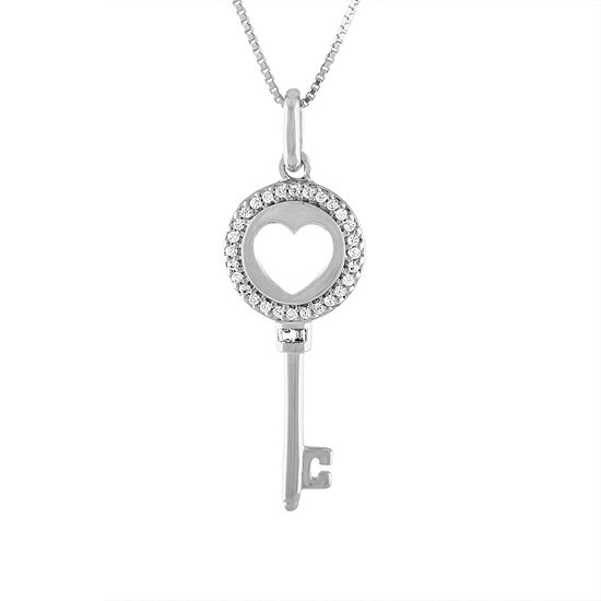 1//7 CTTW Sterling Silver White Diamond key necklace pendant