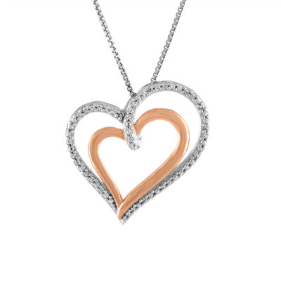 Womens 1/10 CT. T.W. White Diamond Sterling Silver & 14K Rose Gold Over Silver Heart Pendant Necklace