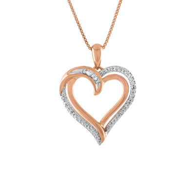 Womens 1/10 CT. T.W. Genuine White Diamond 14K Rose Gold Over Silver Heart Pendant Necklace