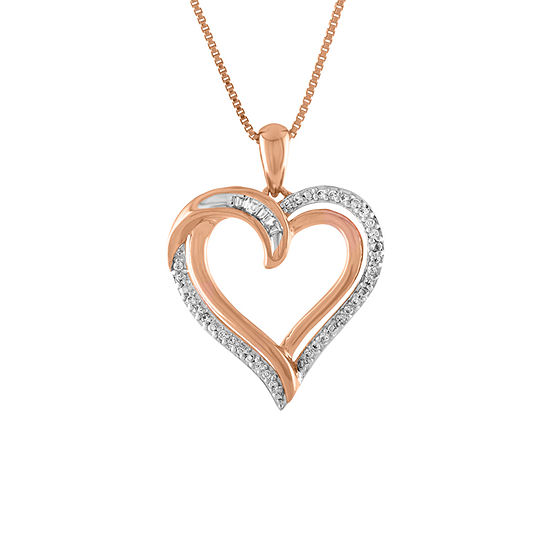 Womens 1 10 Ct Tw Genuine White Diamond 14k Rose Gold Over Silver Heart Pendant Necklace