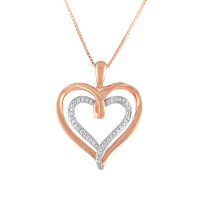 Womens 1/10 CT. T.W. Diamond 14k Rose Gold Over Silver Heart Pendant Necklace