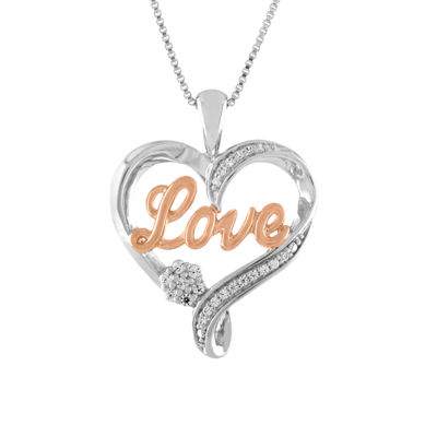 Diamond Blossom Womens 1/10 CT. T.W. Genuine White Diamond 14K Rose Gold Over Silver Sterling Silver Heart Pendant Necklace