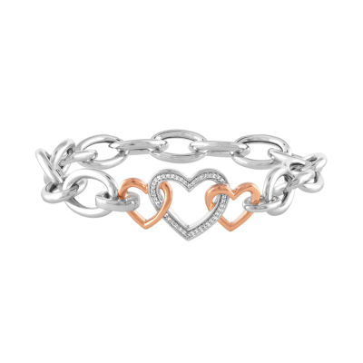 Womens 7 1/2 Inch 1/10 CT. T.W. White Diamond Sterling Silver & 10K Rose Gold Over Silver Bracelet