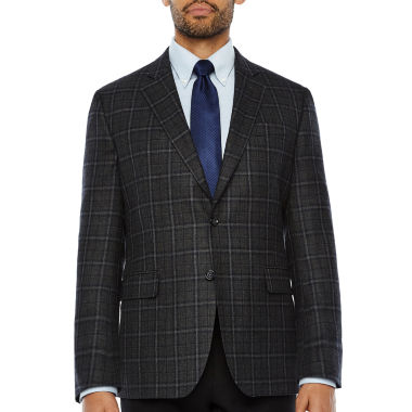 Stafford Merino Wool Sportcoat Gray Navy Plaid - Classic