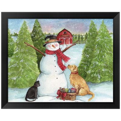 Metaverse Art Snowman Dog And Cat Farm Horizontal Framed Wall Art