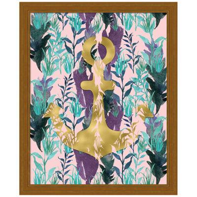 Metaverse Art Teal Florals Gold Anchor Framed Wall Art