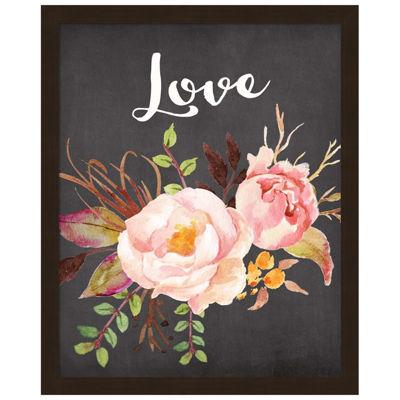 Metaverse Art Watercolor Flowers Love Framed Wall Art