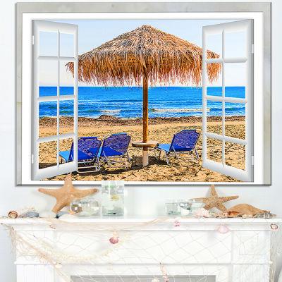 Design Art Window Open To Beach Hut With Chairs Seashore Canvas Art