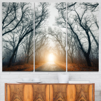 Design Art Scary Forest With Yellow Light Landscape Photography Canvas Print - 3 Panels
