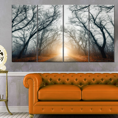 Design Art Scary Forest With Yellow Light Landscape Photography Canvas Print - 4 Panels