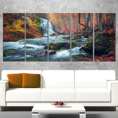 Designart Autumn Mountain Waterfall Long View Landscape Photography Canvas Print   5 Panels