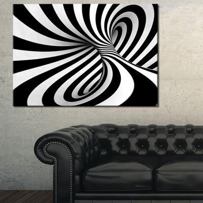 Designart Spiral Black N White Contemporary CanvasArt Print