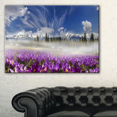 Designart Spring Flowers Crocuses Photography Canvas Art Print