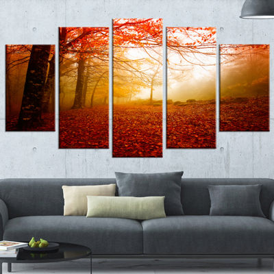 Designart Yellow Sun Rays In Red Forest LandscapePhotography Canvas Print - 5 Panels