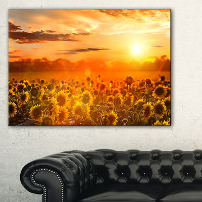 Designart Yellow Sunset Over Sunflowers Photography Art